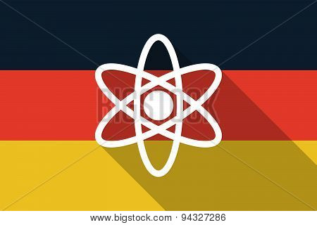 Germany Long Shadow Flag With An Atom