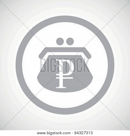 Grey ruble purse sign icon
