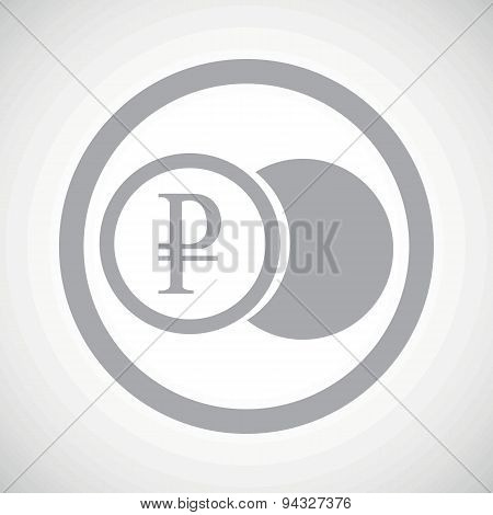Grey ruble coin sign icon