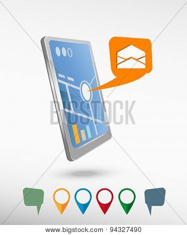 Open Envelope Icon And Perspective Smartphone Vector Realistic