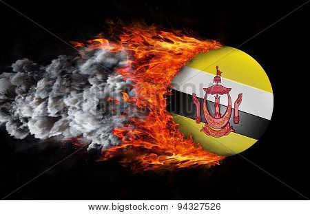 Flag With A Trail Of Fire And Smoke - Brunei