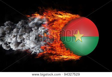 Flag With A Trail Of Fire And Smoke - Burkina Faso
