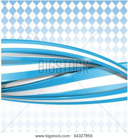 Bavarian Ribbon Flag On Blue Background