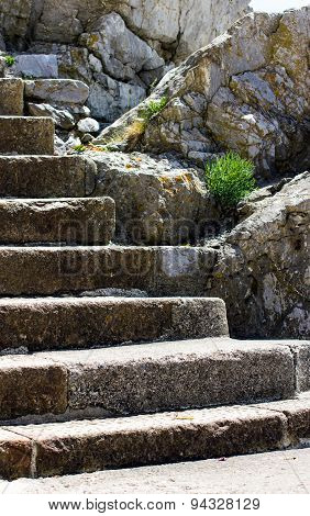 Old Vintage Stone Stair. United Kingdom, Devon, Plymouth