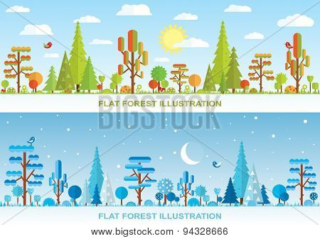Flat vector forest illustration, winter, autumn, night