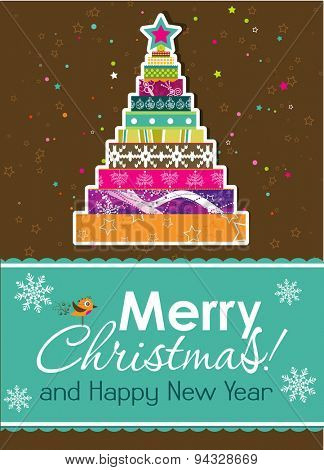 Template Christmas tree greeting card, vector illustration