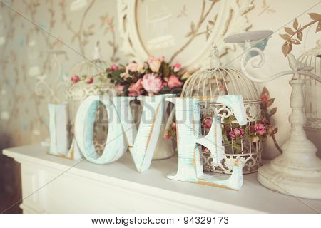 Love Letters On Floral Background