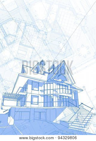 Architecture design: blueprint - house  & plans - vector illustration