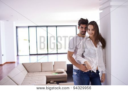 romantic happy young couple relax at modern bright  home  indoors