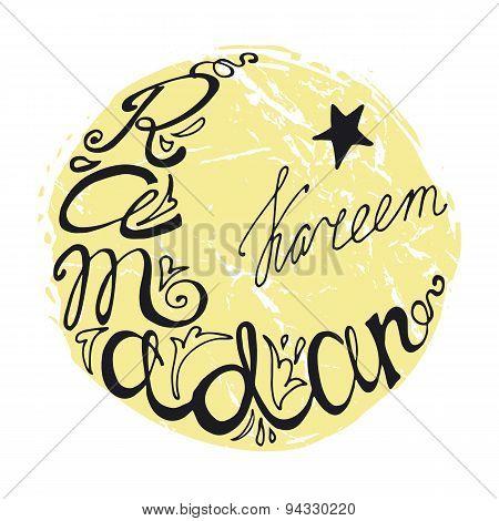 Ramadan Kareem doodle lettering in moon, linear font