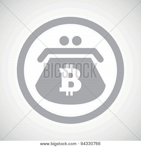 Grey bitcoin purse sign icon