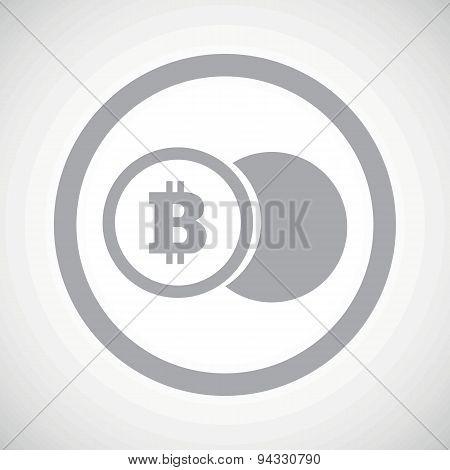 Grey bitcoin coin sign icon
