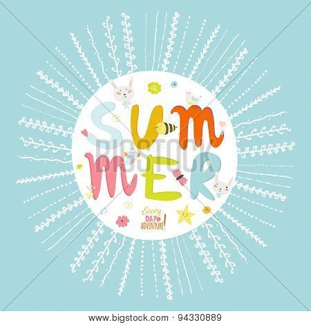 Greeting card with vector Summer typographic