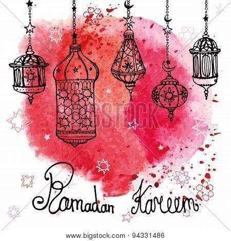 Lantern of Ramadan Kareem.Doodle.Watercolor red splash