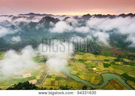 Rice field in valley in Lang Son, Vietnam