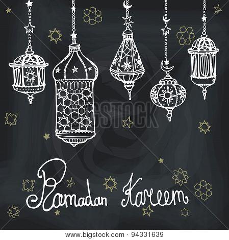 Lantern of Ramadan Kareem.Doodle greeting card.Chalkboard