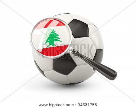 Football With Magnified Flag Of Lebanon