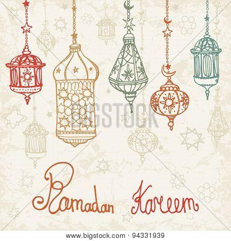 Lantern of Ramadan Kareem.Doodle card