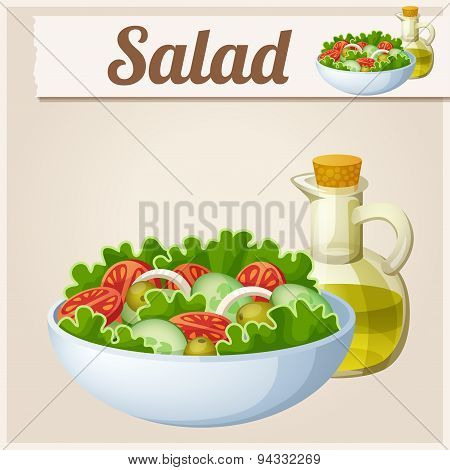 Fresh salad with olive oil. Detailed Vector Icon