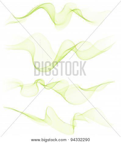 Set of transparent soft lines on white.