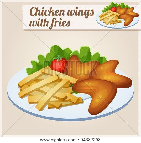 Chicken wings with french fries. Detailed Vector Icon