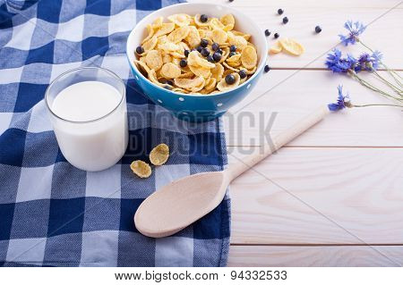 Cornflakes, Cup With Fresh Milk , Flower And Spoon