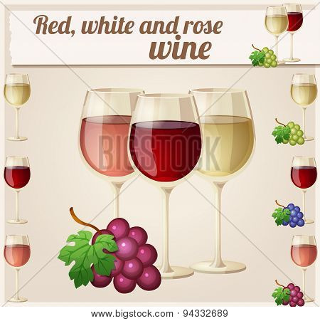 Red, white and rose wine in glasses. Detailed Vector Icon