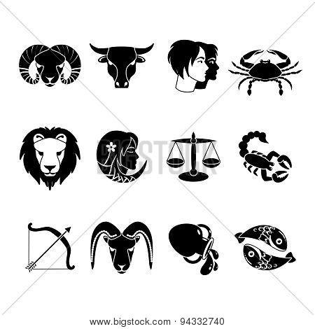 Zodiac signs icons set black
