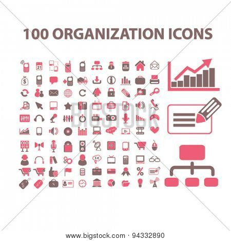 organization, management, presentation isolated icons, signs, illustrations, vector for internet, website, mobile application on white background