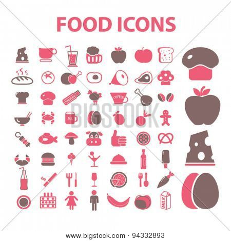 food, restaurant, meat, cheese, eggs, cafe isolated icons, signs, illustrations, vector for internet, website, mobile application on white background