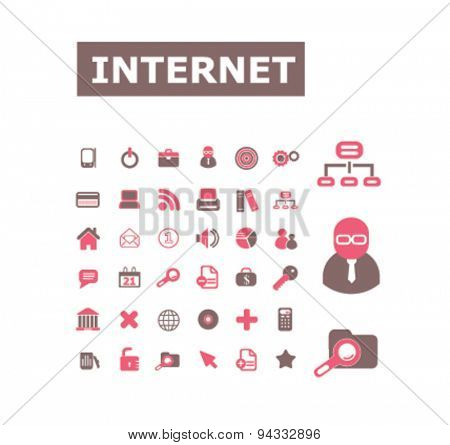 internet, site isolated icons, signs, illustrations, vector for website, mobile application on white background