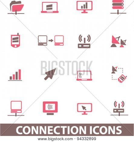 connection, network isolated icons, signs, illustrations, vector for internet, website, mobile application on white background