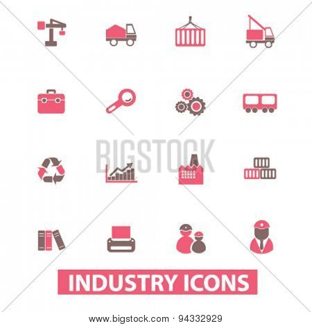industry, factory isolated icons, signs, illustrations, vector for internet, website, mobile application on white background