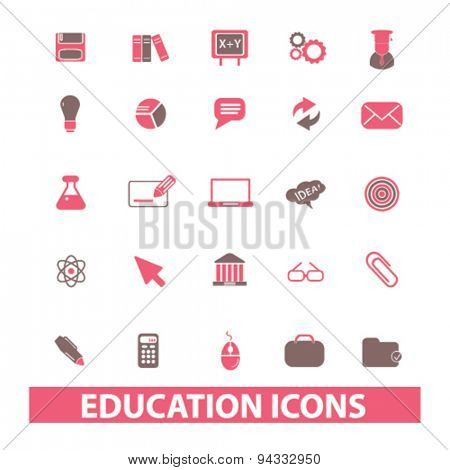 education, learning, school isolated icons, signs, illustrations, vector for internet, website, mobile application on white background