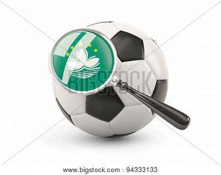 Football With Magnified Flag Of Macao