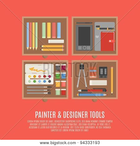 Painter And Designer Tools Concept