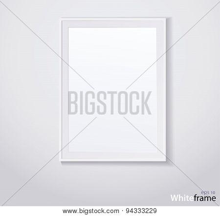 Stylish white photoframe. Vector illustration