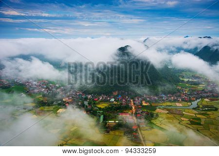 Rice field in valley in sunrise with mist in Bacson, Langson, Vietnam