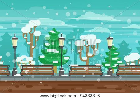 Winter Garden Landscape Poster