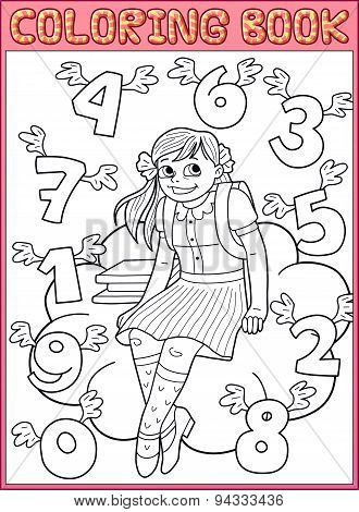 Coloring book page. Schoolgirl and flying numbers