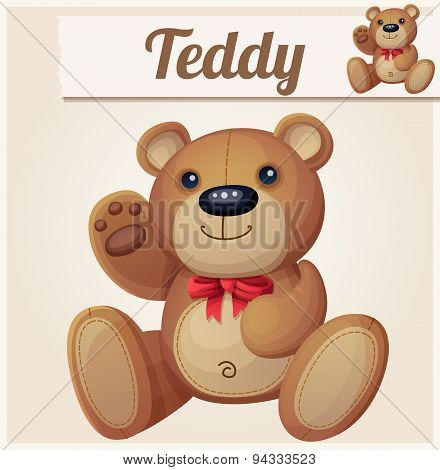 Teddy bear with red bow waves the paw. Cartoon vector illustration. Series of children's toys