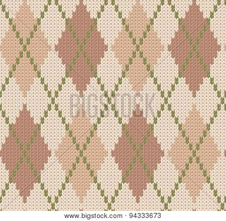 Winter knitted background with diamonds. Vector seamless pattern.