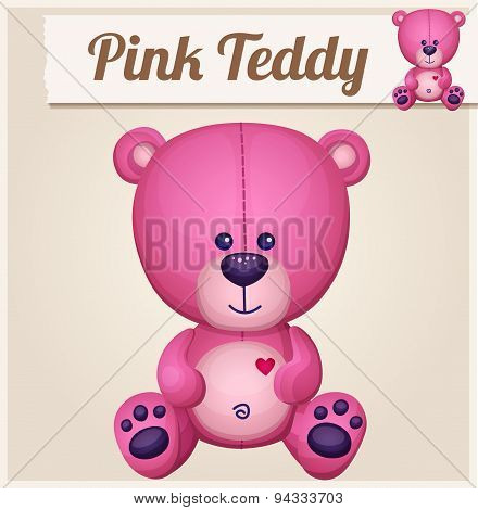 Pink teddy bear. Cartoon vector illustration. Series of children's toys