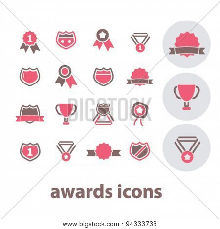 awards, victory, trophy, emblem isolated icons, signs, illustrations, vector for internet, website, mobile application on white background