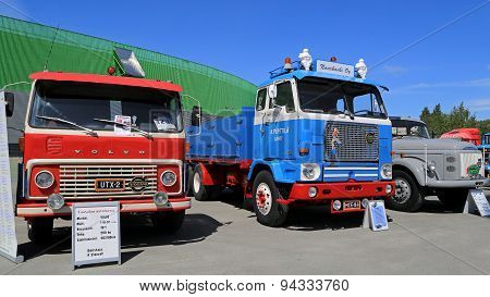 Three Classic Volvo Trucks From 60S And 70S