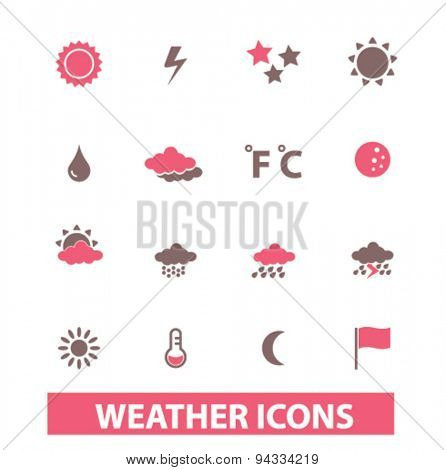 weather, climate isolated icons, signs, illustrations for web, internet, mobile application, vector