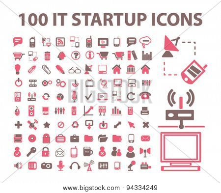 100 startup, internet technology, computer, administration isolated icons, signs, illustrations for web, mobile application, vector