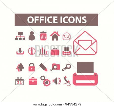 office, workplace isolated icons, signs, illustrations for web, internet, mobile application, vector