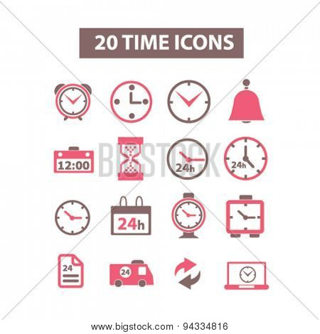 time, clock, hour, minute, delivery isolated icons, signs, illustrations for web, internet, mobile application, vector
