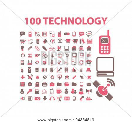 100 technology, communication, connection isolated icons, signs, illustrations for web, internet, mobile application, vector